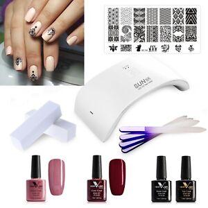 uv led nail gel polish complete starter kit set 24watt. Black Bedroom Furniture Sets. Home Design Ideas