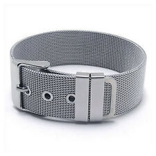 MENDINO Men's Stainless Steel Bracelet Classic Mesh Watchband Cuff Buckle Bangle