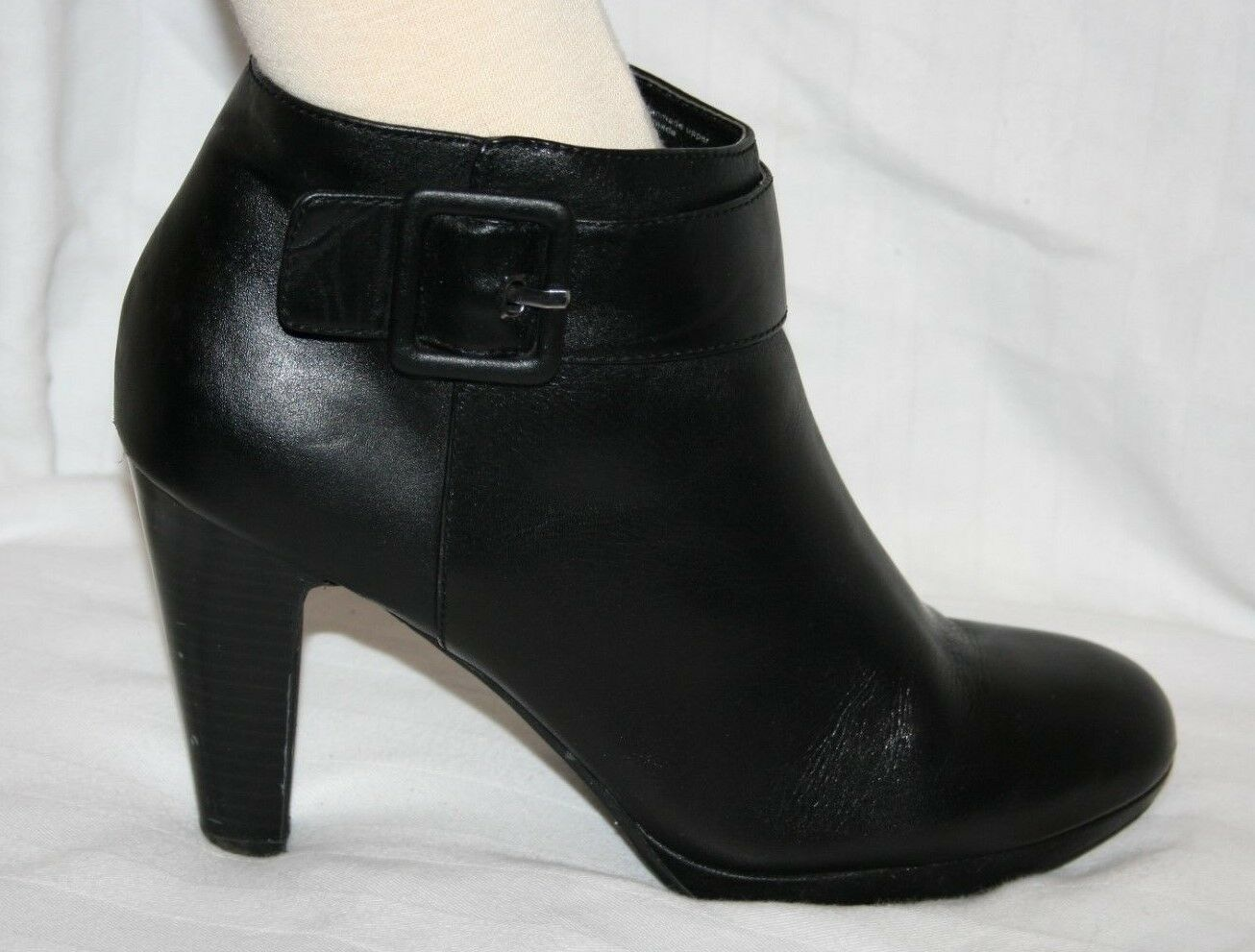 GIANNI BINI CHUNK HEEL ANKLE BOOT BLACK BOOTIES LEATHER ZIP UP SLIP ON 9.5