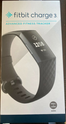 BRAND NEW Factory Sealed! Graphite//Black Fitbit Charge 3 Fitness Tracker