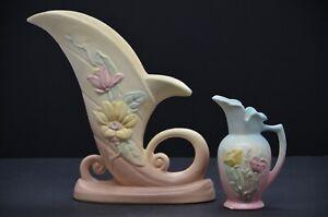 Hull Pottery Magnolia Cornucopia Vase and Poppy Ewer Pitcher Vintage
