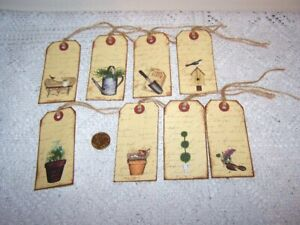 8~Halloween~Primitive~Witch~Wicca~Samhain~Linen Cardstock~Gift~Hang~Tags~Ornies