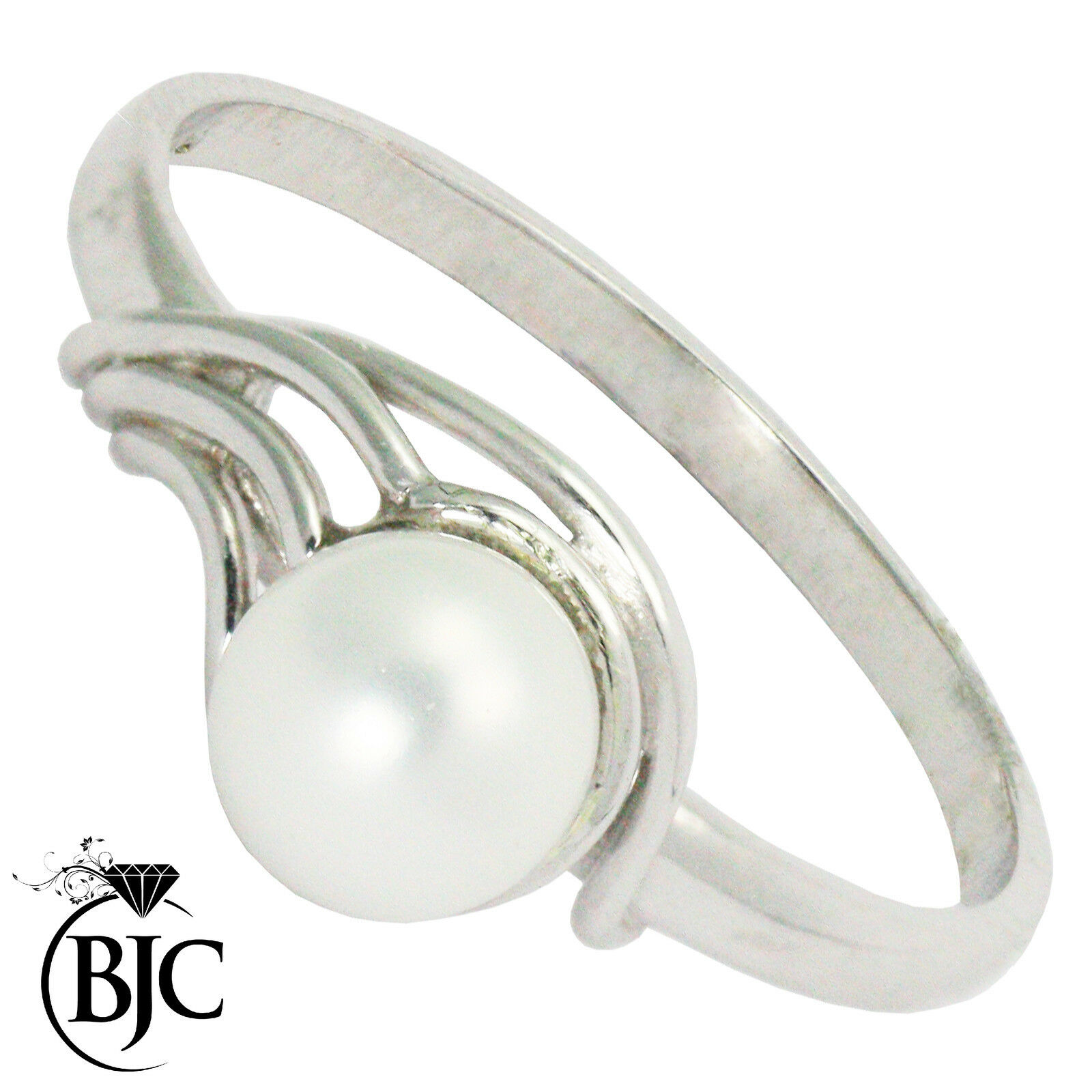 BJC® 9ct White gold Pearl Solitaire size P engagement Wave ring R159