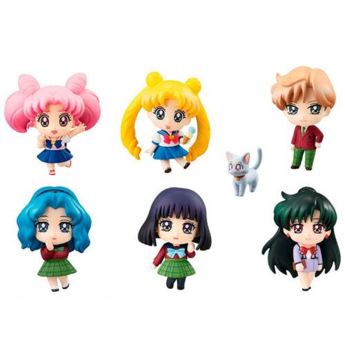 6pcs Petit Chara Sailor Moon Maiden of School Life Tsukino Usagi Figurine NB