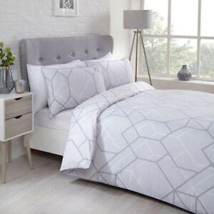 Duvet-Set-Cover-Single-Cotton-Polyester-Bedset-Grey-Honeycomb-Design-Bedding-Set