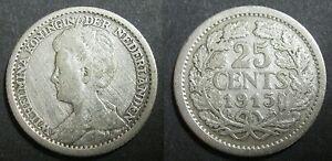 PAYS-BAS-25-CENTS-1915-REINE-WILHELMINA-Argent