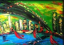 New York, Brookly Bridge, Palette Knife Oil Painting, Large, Abstact Seascape