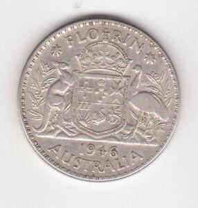 1946 Australian Silver TWO Shilling Florin KING GEORGE VI  (very Nice)