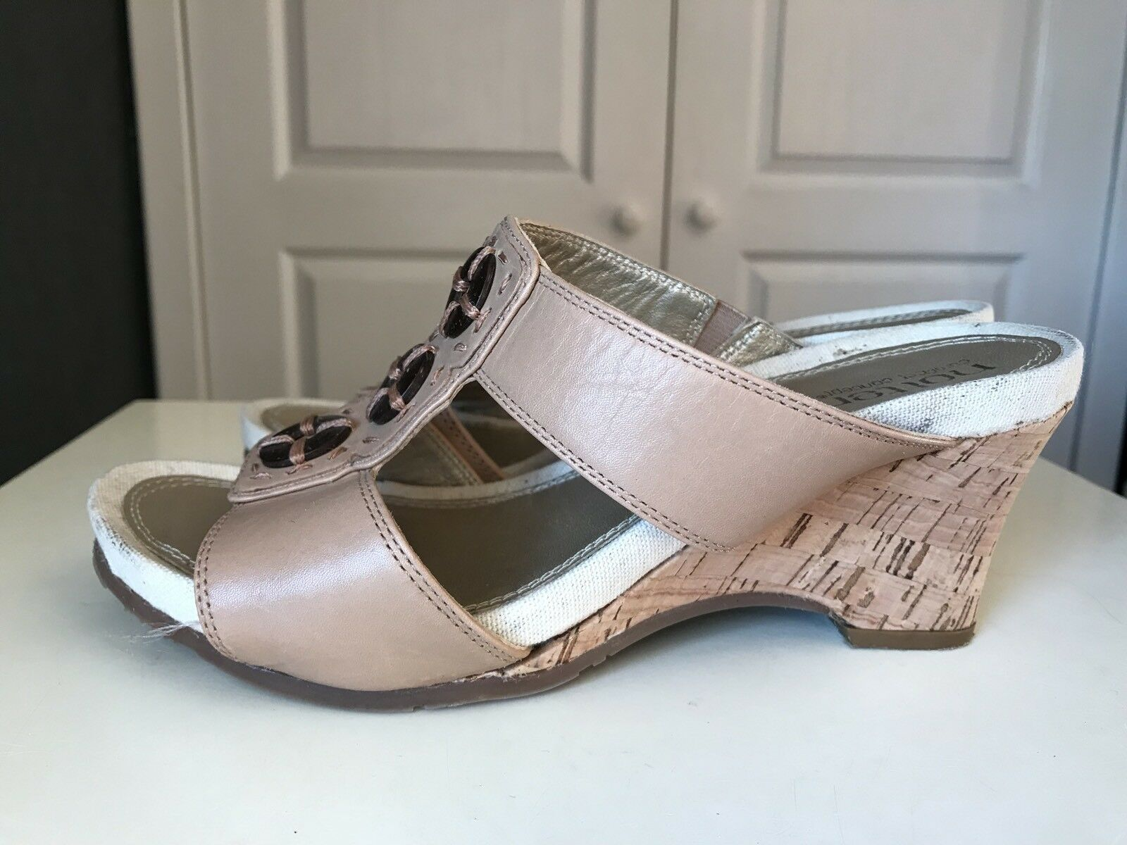 HOTTER Tan Beige Leather Women Platform Sandal High Heel shoes Size 3 36