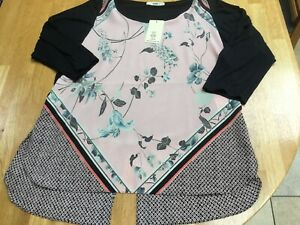 Oasis-Peach-Black-Top-Medium-New-With-Labels