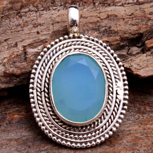 Faceted-Aqua-Chalcedony-925-Sterling-Silver-Jewelry-Gemstone-Pendant-1-3-034