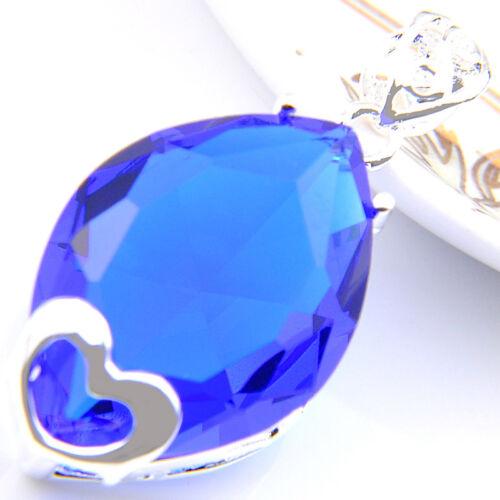 Énorme rectangle en forme de femme cadeau de noël London Blue Topaz Argent Collier Pendentif