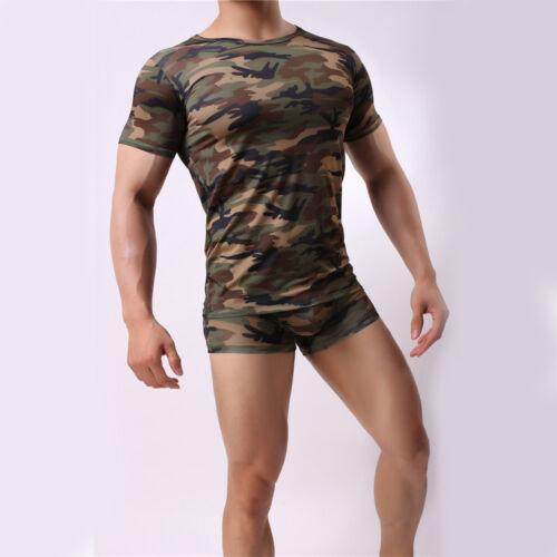 Men/'s Camo T-Shirt Fitness Tights Quick Dry Tops Tees Crossfit Compression Shirt