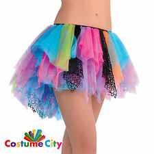 Adults Womens 1980s Neon Rainbow Tutu 80s Fancy Dress Party Costume Accessory