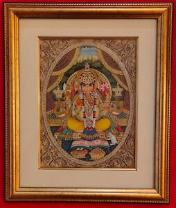 Hand-Painted-Ganesh-Ganesha-God-Miniature-Painting-India-Artwork-Framed