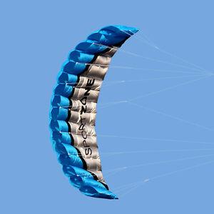 NEW-2-5m-Dual-Line-Parafoil-Parachute-Stunt-Sport-Beach-Outdoor-Toys-BLUE-Kite