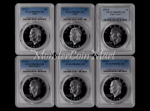Clad Eisenhower Dollars PCGS PR69DCAM 6-PIECE 73, 74, 76 Ty. 1//Ty. 2, 77, 78