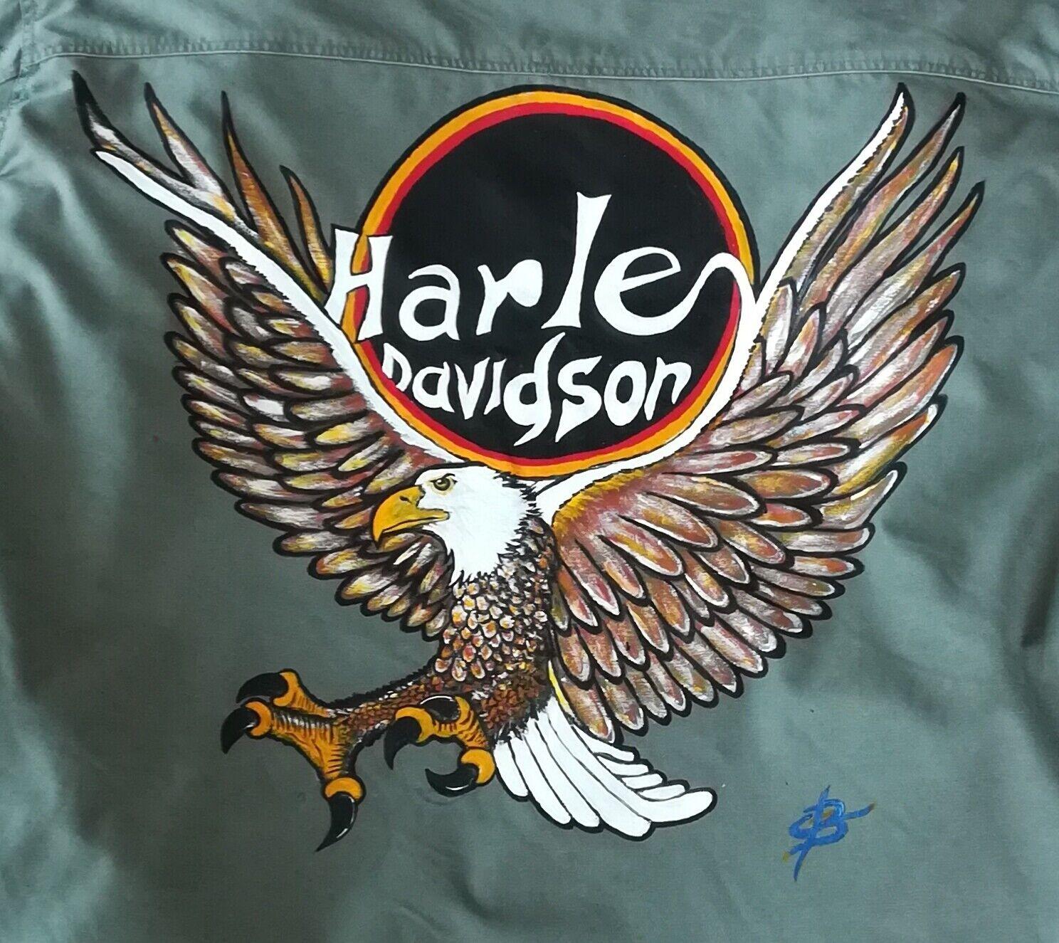 PARKAS KAKI - HARLEY DAVIDSON PEINT A LA MAIN - size 5XL