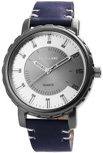 Excellanc-Herrenuhr-Silber-Grau-Blau-Metall-Kunst-Leder-Armbanduhr-X2900043002