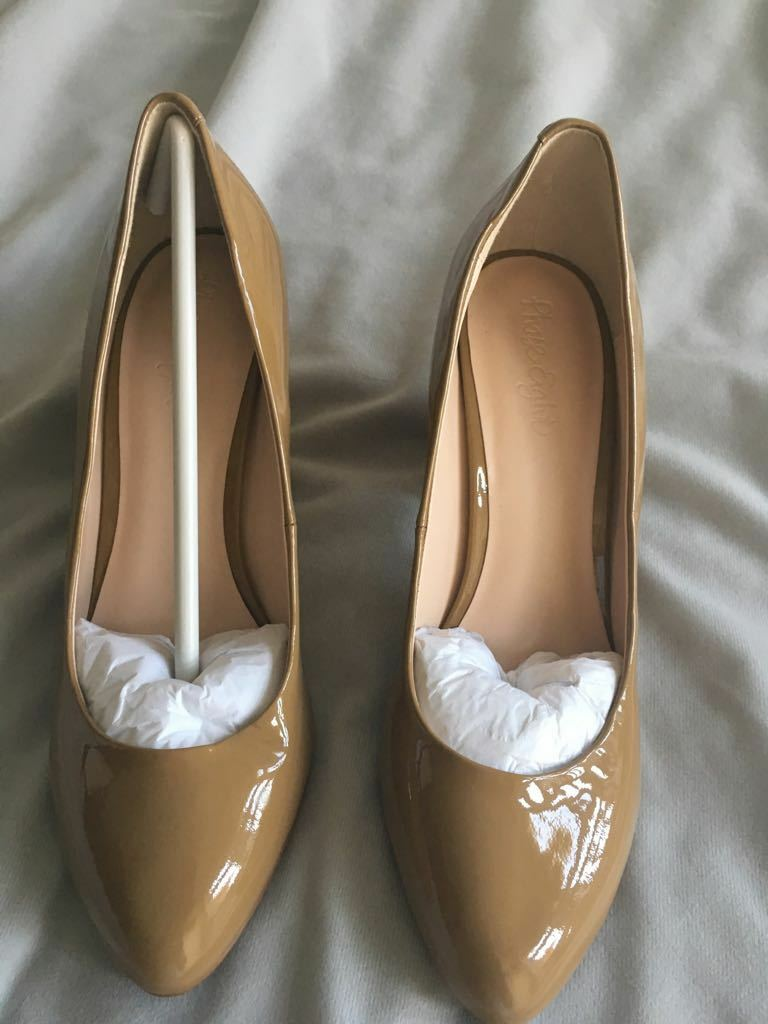 NEU Phase Eight Caramel Braun Shiny Heels Größe 4 WERE