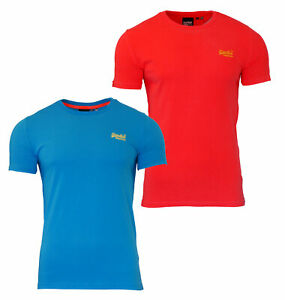 Lite-de-Superdry-Orange-Label-de-Neon-para-hombre-Manga-corta-cuello-redondo-de-la-camiseta-azul
