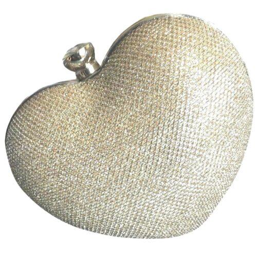 Heart Shaped Clutch Bag Ladies Hard Case Sparkly Evening Shoulder Bag Handbag