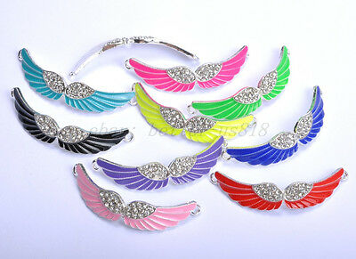 5pcs Charms Crystal Rhinestone Enamel Angel Curved Wing Connectors Findings 54MM