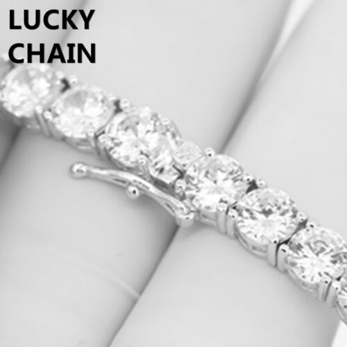 """20/""""14K WHITE GOLD FINISH BLING OUT TENNIS CHOKER CHAIN NECKLACE 6mm 52g"""