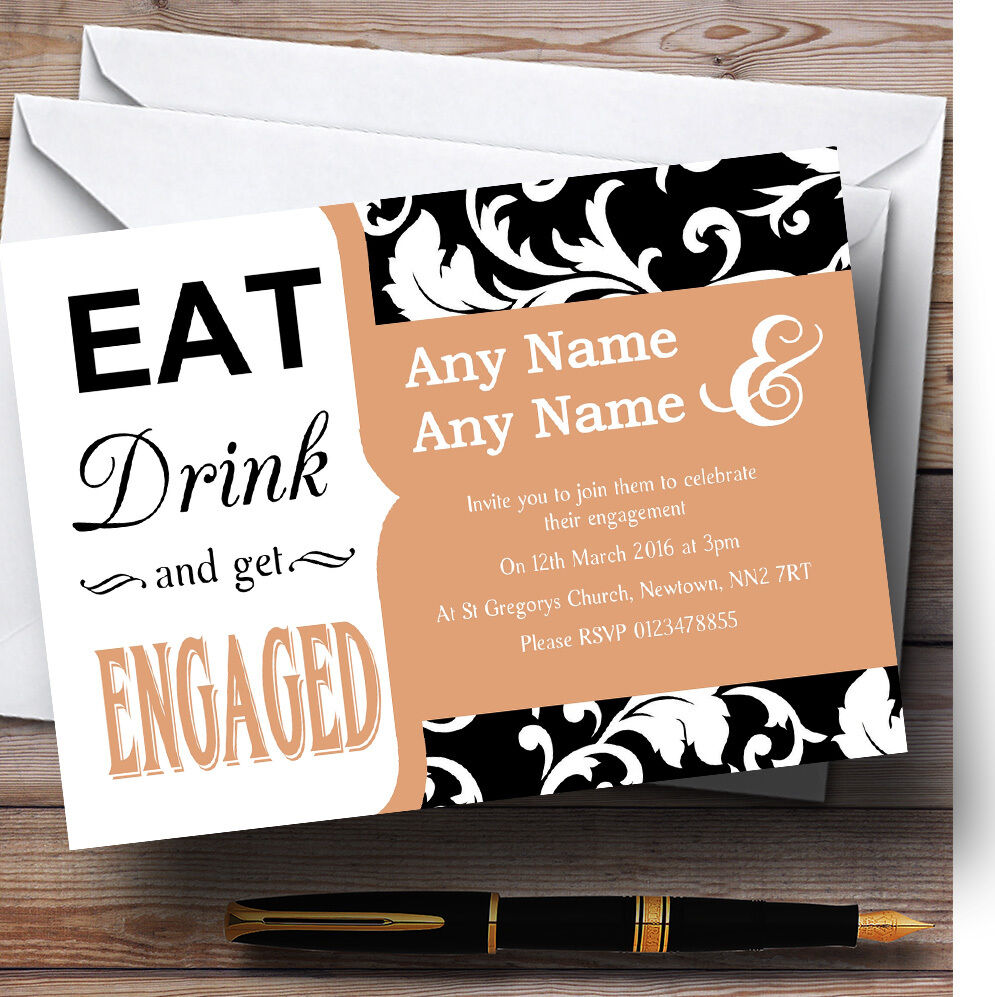 Beige Damask Personalised Eat Drink Engagement Party Invitations 943d38