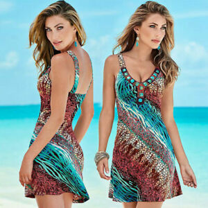 Womens-Summer-Beach-Wear-Bikini-Cover-Up-Boho-Ladies-Holiday-Swing-Sun-Dress