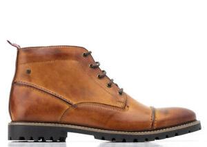 Base-London-Tan-Rafferty-Waxy-Leather-Lace-Up-Brogue-Winter-Boots-Shoes-9-43-New