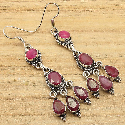 ROYAL RUBY Gems Antique, Vintage, Indian Jewellery Earrings ! 925 Silver Plated