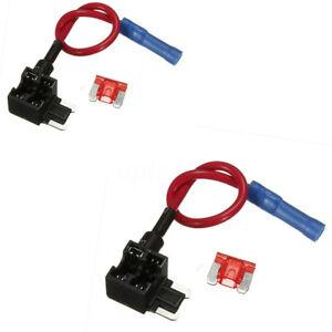 2x-Cavo-Connessione-Ruba-corrente-Fusibile-Lamellare-Micro-Auto-Per-Nautica-12V