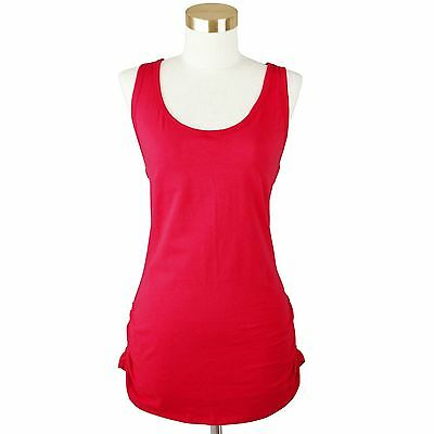 Womens Plus Basic Cami Tank Top Racer Back Long Shirts Side Shirring S~3X