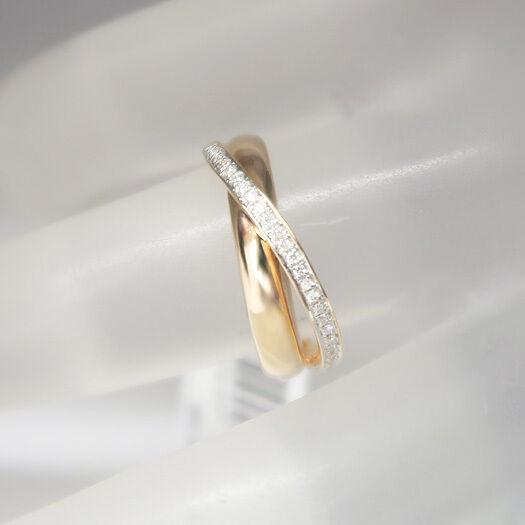 Moderner Ring mit 0,12ct Brillant TW-si in 585 14K pinkgold