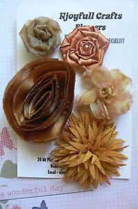 HANDMADE-5-Flowers-GOLD-MIX-Satin-Crepe-Organza-45-to-85mm-NjoyfullCrafts