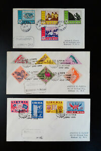 Liberia-United-Nations-10th-Anniversary-Stamp-Cover-Lot