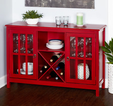 Kitchen Storage Buffet Red Cabinet Wood Dining Wine Rack Sideboard Table