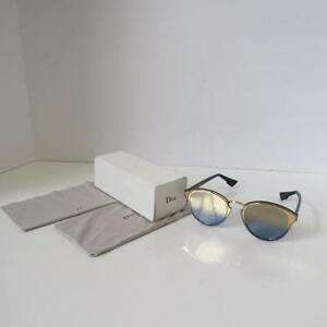 fec592e6c3 Christian Dior  Nightfall  Gold Blue Frame Mirror Lens Sunglasses ...