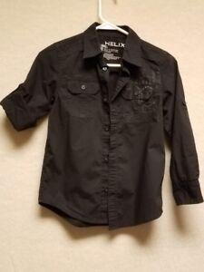 994be07c6 Boys Helix Black Button Down Long Sleeve Shirt Kohls Size Small   eBay