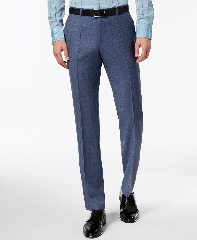 HUGO BOSS Mens MODERN Fit Wool Trousers blueE FLAT FRONT DRESS PANTS 40W