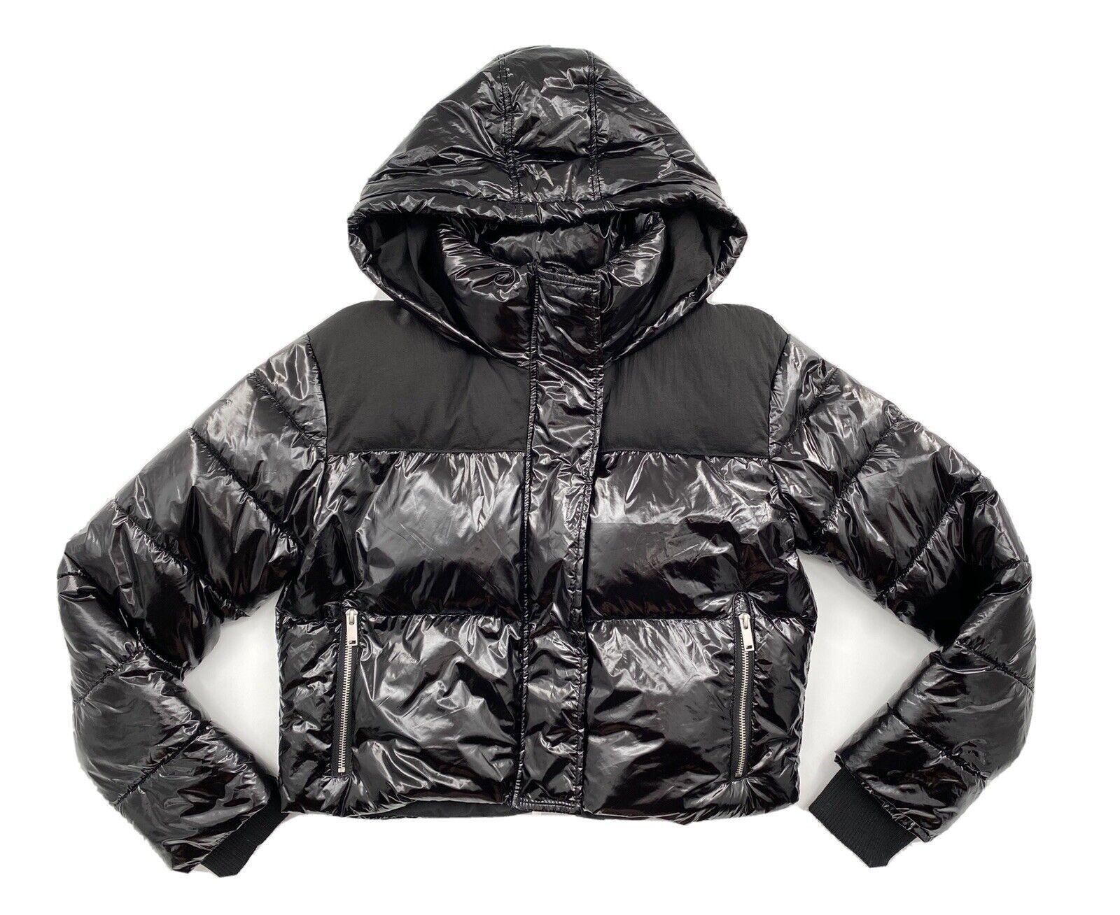 Bagatelle NYC Women's Cropped Black Patent Nylon Puffer Jacket Medium Hooded