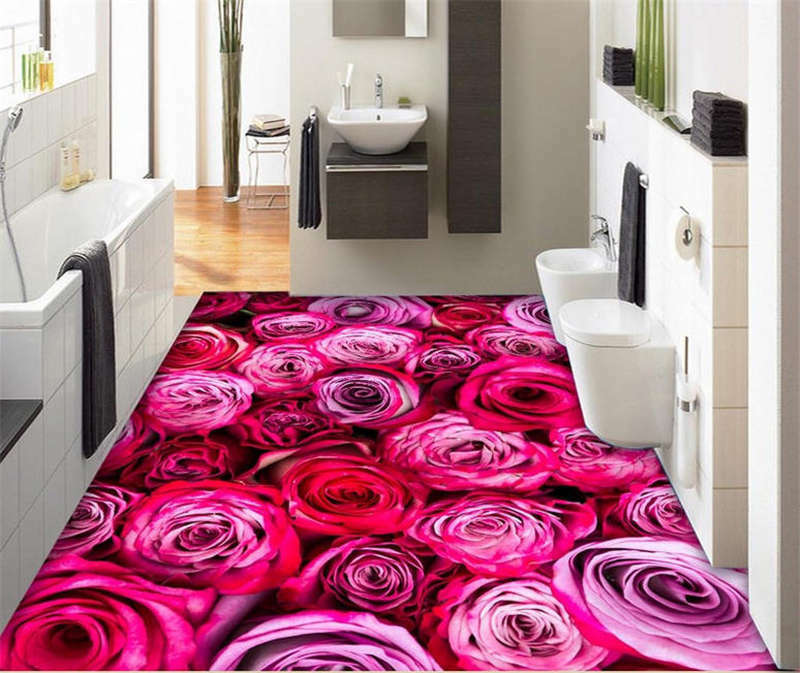 Dreamy Mauve pink 3D Floor Mural Photo Flooring Wallpaper Home Print Decoration