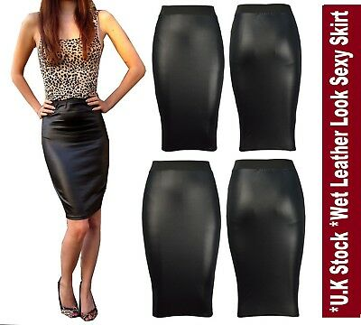 Women Wet Look Plus Size Ladies Faux Leather Pencil Stretch Midi Skirt*WTmdL