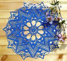 HaHa Royal Blue Linen Crochet 40cm Round Doily Coaster Ornamental Mat