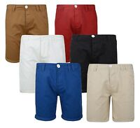 Soul Star Men's Chino Shorts Casual Cotton Summer Half Pants Roll Up Plain 28 30