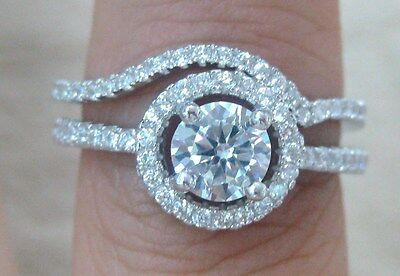 925 STERLING SILVER Round Brilliant CUT CZ BRIDAL SET ENGAGEMENT & WEDDING RING