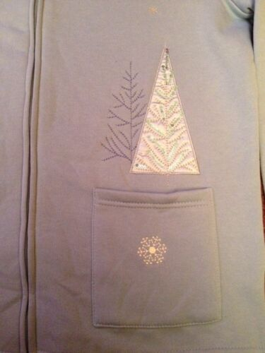 Breckenridge Sz S Blue Holiday Christmas Fleece Full Zip Cardigan Sweater Shirt