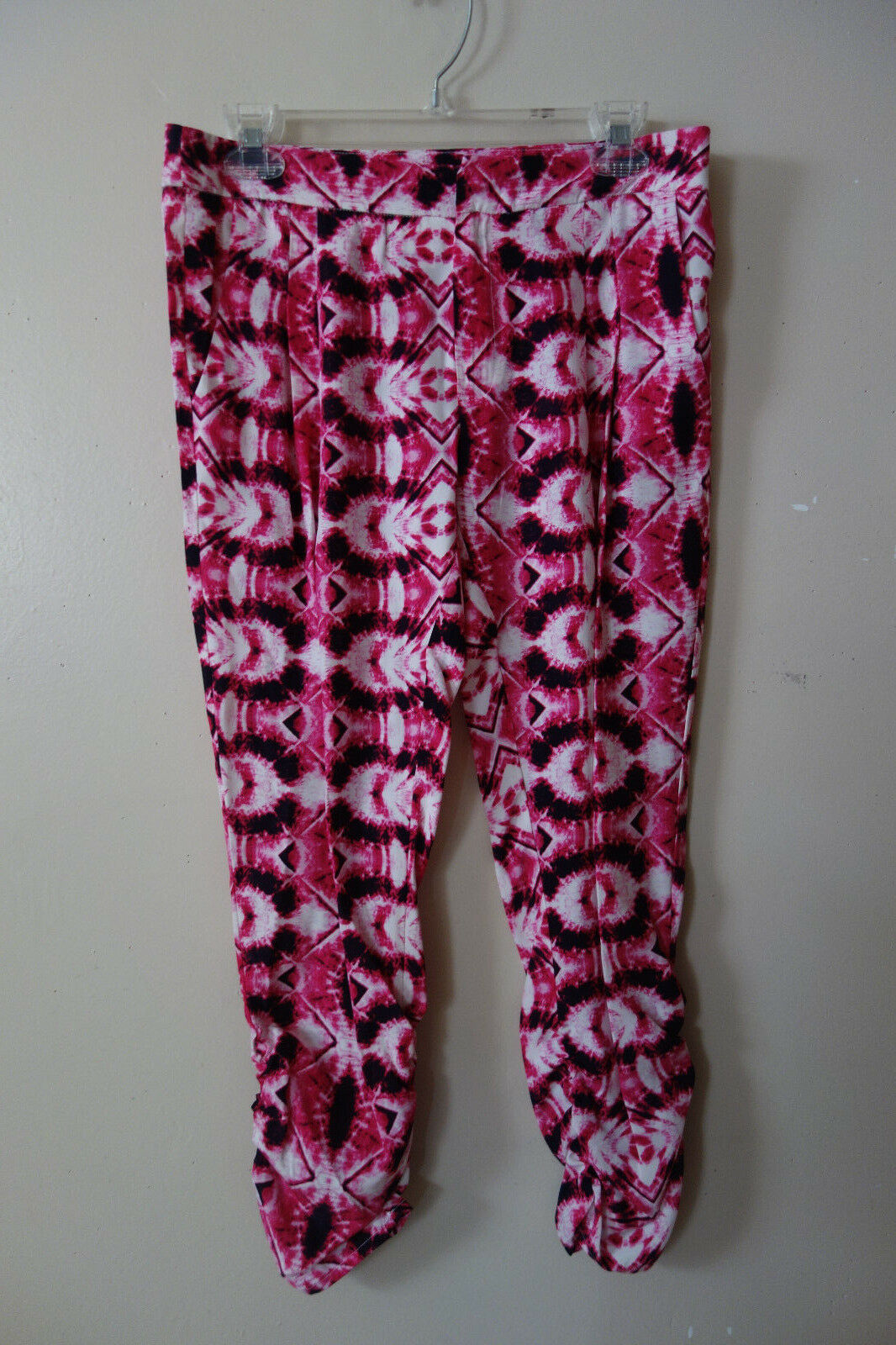 Parker Devlin Multi-color Ruched Ankle Double Pleat Cropped Silk Pants 4 NWT