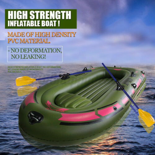 Triple Person Inflatable Rubber Boat Raft Kayak Canoe With Air Pump+Oars+Ropes